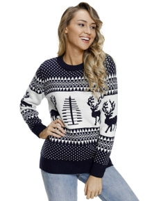 Navy White Reindeer and Christmas Tree Sweater