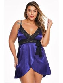 Purple Lace V Neckline Plus Size Babydoll