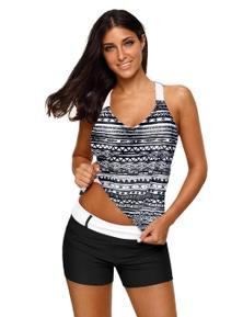 Black Fuzzy Stripes Strappy Back Tankini Top