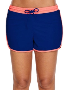 Coral Trim Cobalt Blue Swim Shorts