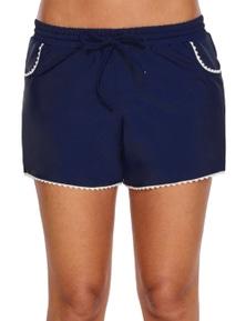 Cute Scalloped Trim Navy Blue Swim Shorts