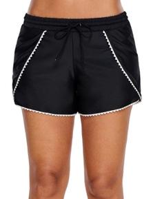 Scalloped Trim Flap Cover Black Swim Shorts