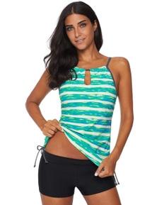 Green Print Tankini Swimwear
