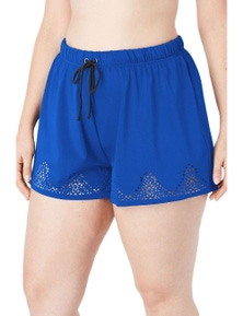 Sky Blue Laser Cut Swim Short with Tummy Control
