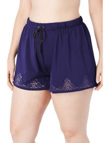 Blue Laser Cut Swim Short with Tummy Control