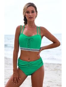 Green Lace Up Detail High Waist Bikini