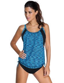 Sky Blue Layered-Style Printed Tankini with Swim Trunks