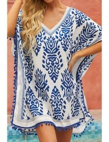 Blue Floral Print Tassel Hem Beach Cover up