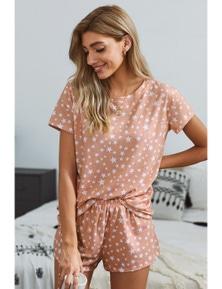 Pink Star Print Home Pajamas Set