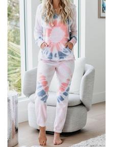 Utopia Cotton Blend Tie Dye Hoodie Joggers Loungewear