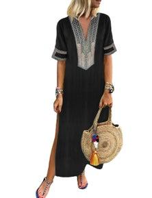 Black Bohemian Floral Print Split Maxi Dress