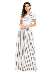 Black Striped White Short Sleeve Maxi Dress