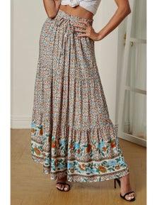 Multicolor Boho Floral Print Elastic High Waist Pleated A Line Maxi Skirt