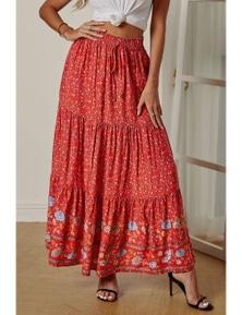 Red Boho Floral Print Elastic High Waist Pleated A Line Maxi Skirt