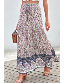 Blue Boho Floral Print Elastic High Waist Pleated A Line Maxi Skirt