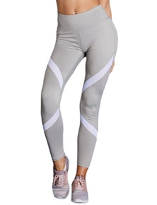 Gray Patchwork High Waist Gym Leggings