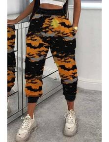 Orange Halloween Bat Print Casual Pants