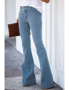 Sky Blue Vintage Casual Pocket Flared Jeans