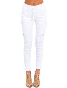 White Drawstring Ankle Pocket Denim Jeans