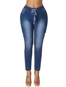 Dark Drawstring Ankle Pocket Denim Jeans