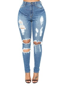 Light Blue Denim Distressed Skinny Jeans