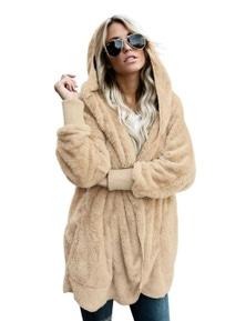 Khaki Soft Fleece Hooded Open Front Coat
