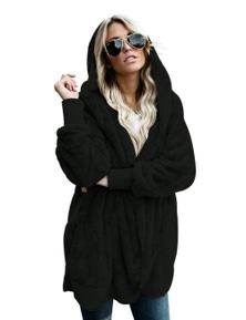 Black Soft Fleece Hooded Open Front Coat