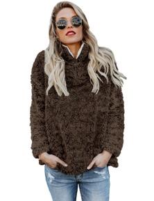 Coffee Zipper Fleece Pullover Coat