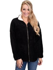Black Lamb Fleece Zip Down Jacket
