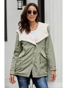 Khaki Asymmetric Hooded Fleece Winter Coat