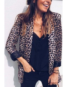 Open Front Long Sleeve Leopard Blazer Suit