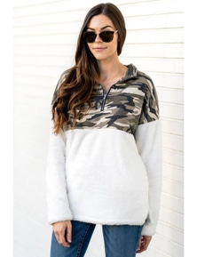 Green Fuzzy Pullover with Camo Detail