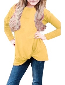 Mustard Twist Knot Detail Long Sleeve Girls Top