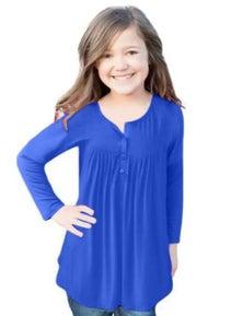 Light Blue Long Sleeve Button Detail Pleated Little Girls Top