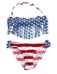 Fringed American Flag Bikini Swimsuit for Girls