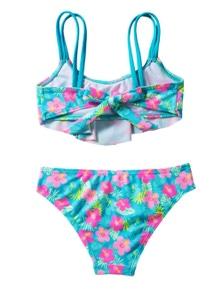 Girls' Ruffle Flower Print Two Piece Swimsuit Set