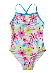 Girls' Cross-Back Sunflower One Piece Swimsuit