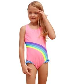 Cute Rainbow Trim Pink Baby Girls One Piece Swimsuit