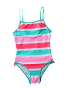 Neon Multicolor Striped Ruffle Trim Girls Teddy Swimsuit