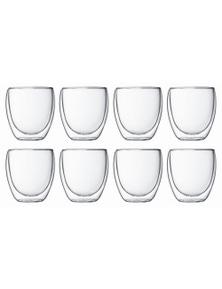 Bodum 250mL Pavina Small Double Wall Glass Set 8 Pack