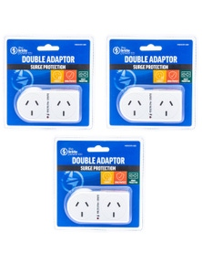 The Brute Power Co Flat Right Surge Protection Double Adapter 3PK