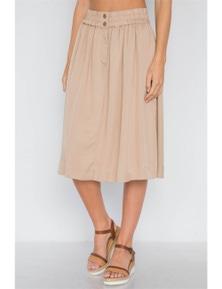Khaki High-waist Solid Midi Skirt