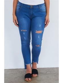 Plus Size Medium Blue Ripped Pants
