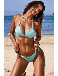 Sky Blue Halter Triangular Bikini with Ties