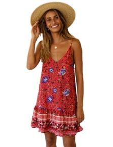 Red Floral Slip-on Dress