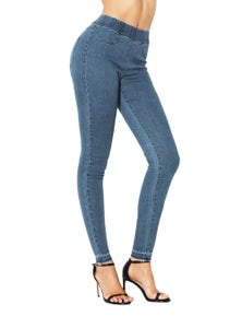Cobalt Blue Elastic Waist Jeans Stretch Pants for Women