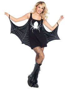 Black Jersey Dress Spiderweb Cosplay Costume