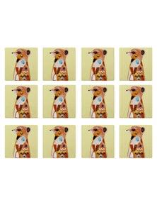Maxwell & Williams Pete Cromer Wildlife Ceramic Square Coaster 9.5Cm Meerkat 12Pk