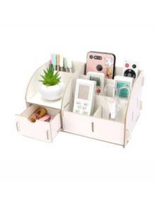 Wooden Home Office Organiser Desk Stationery Holder With Drawer- White