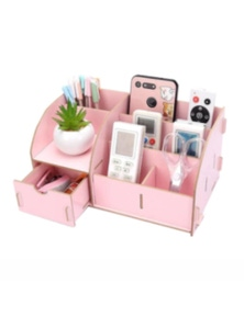 Wooden Home Office Organiser Desk Stationery Holder With Drawer- Pink